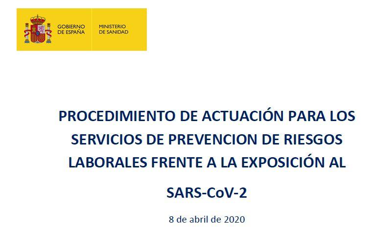 Procedimiento de actuación para los SPRL frente a la exposición al SARS-CoV-2